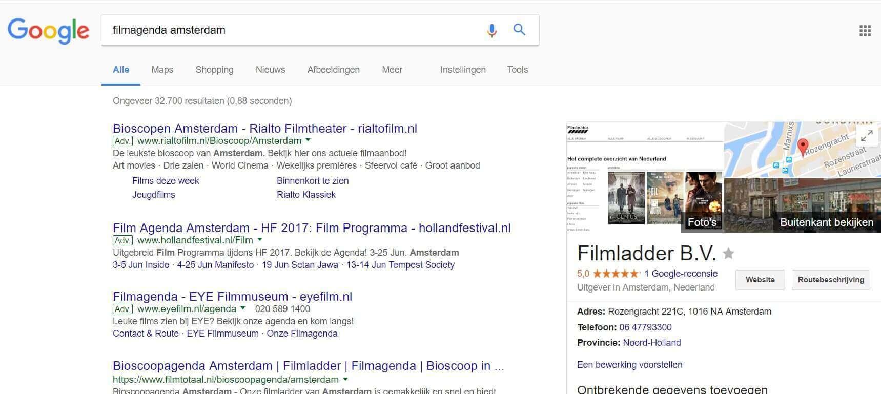 Voorbeeld Google AdWords